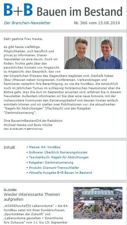 B+B Branchennewsletter