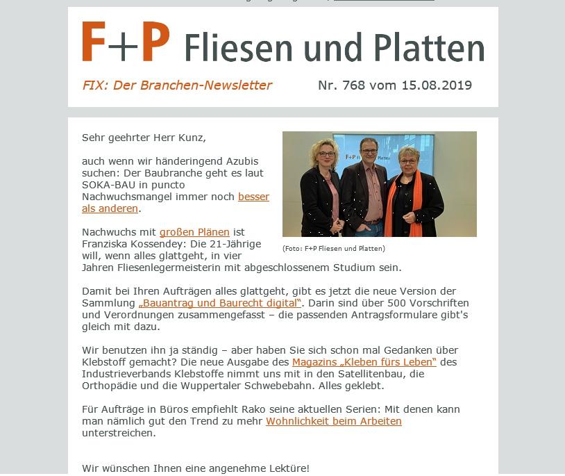 F+P Branchennewsletter