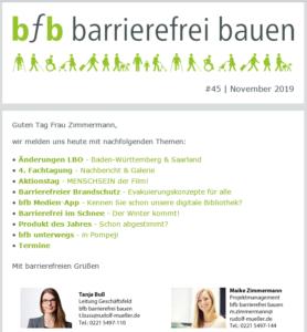 bfb barrierefrei bauen Newsletter